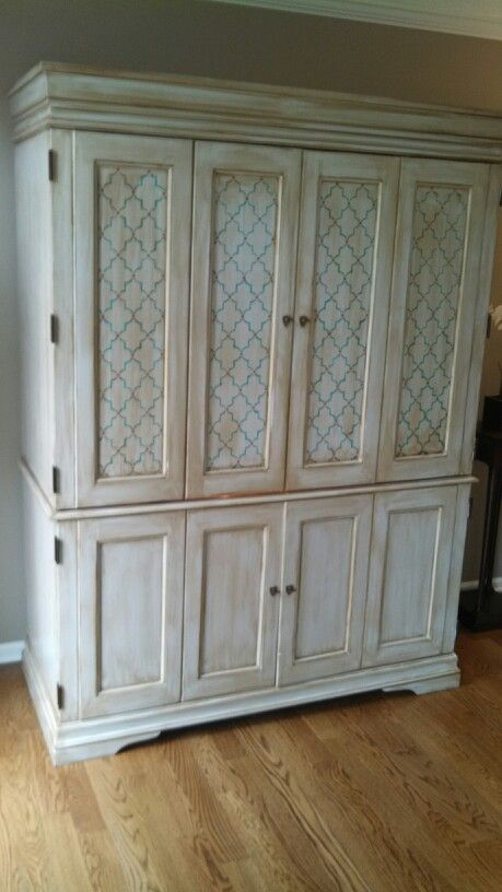 Refinished Armoire From A Cherry Stain To Shabby Chic