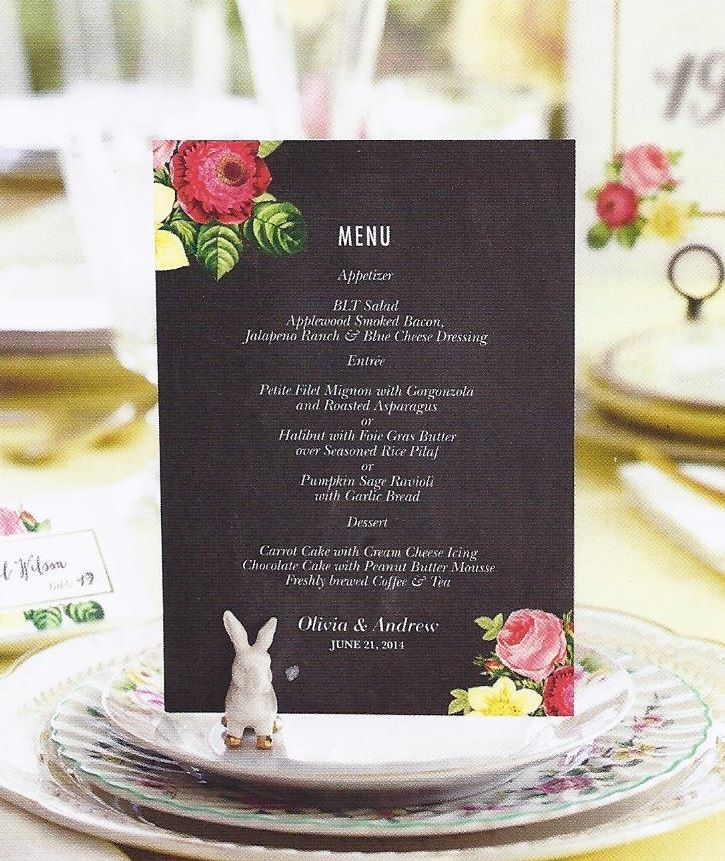 wedding invitations gifts%0A Create a custom wedding reception menu for your guests  This floral design  is perfect for spring or summer weddings