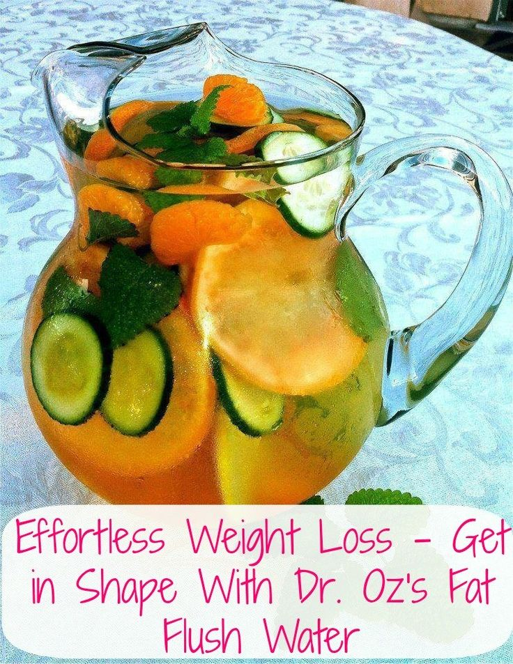 Effortless Weight Loss - Get in Shape With Dr. Oz's Fat Flush Water. This recipe calls for a slice of grapefruit, 1/2 cucumber, tangerine, 2 peppermint leaves, filtered water and ice.