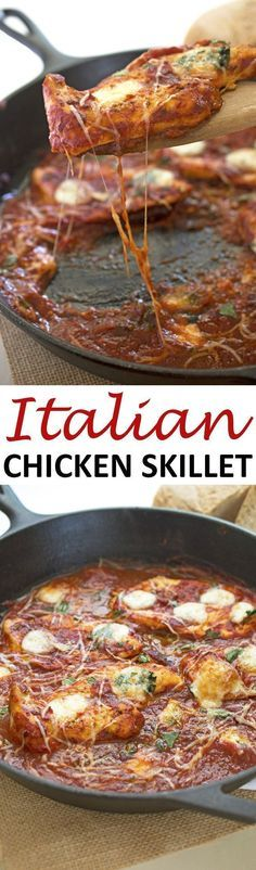 A simple One Pan Italian Chicken Skillet that can be made in less that 15 minutes! | chefsavvy.com #recipe #Italian #chicken #skillet #dinner