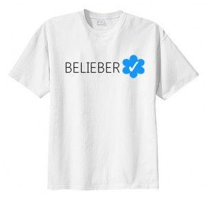 T-shirt koszulka BELIEBER VERIFIED Justin fandoms fan printed print napis nadruk młodzieżowa bluzka dla nastolatków na lato do szortów, tania fajna bawełniana bluzka z krótkim rękawem we wzory