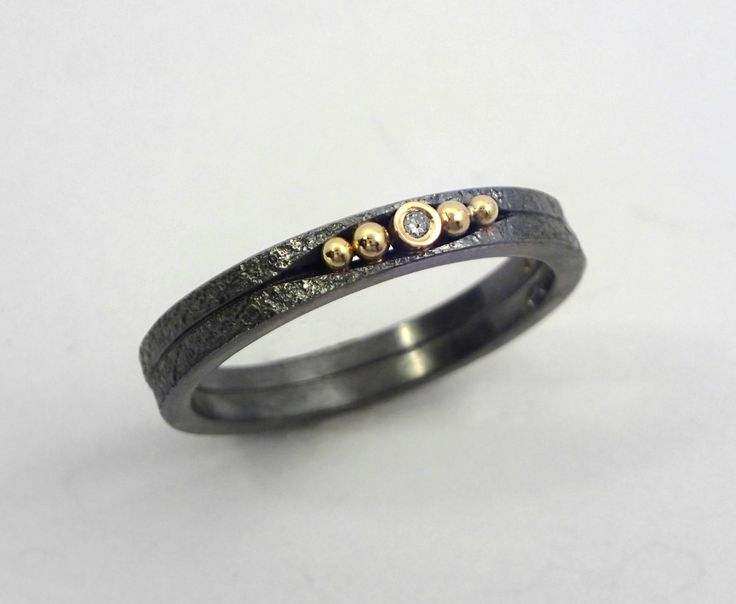 An oxidized silver ring with a diamond and studded 18K gold granules, A double band ring, A patina ring, Handcrafted jewelry by TomisCraft on Etsy