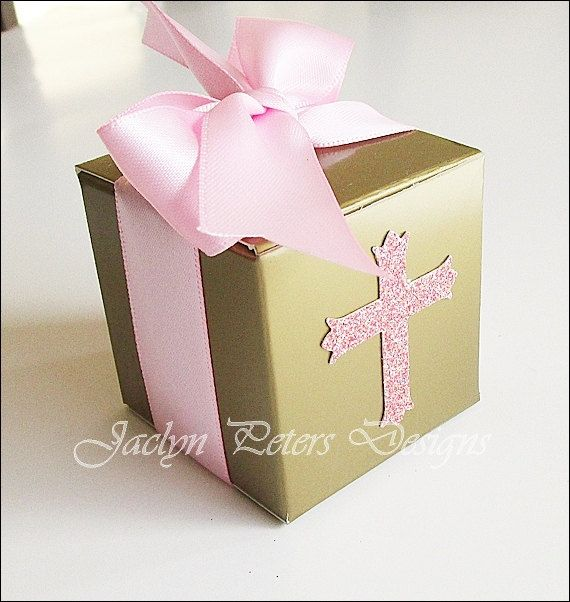 Pink And Gold Baptism Party Favor Box First by JaclynPetersDesigns