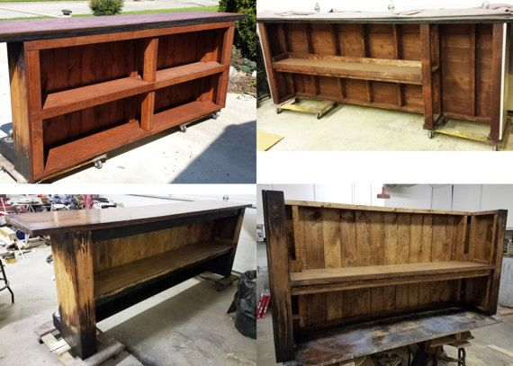 Made to order custom bar. Price will vary depending on total length. Any color finishes or themes can be used. **$2,350. price is average price for a version with 8 foot long bar top with standard single rear shelf. Can be more or less, all depending on the size, design, and all the