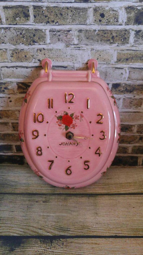 Pink Bathroom Decor Bathroom Clock Vintage by TheGreenElephantShop