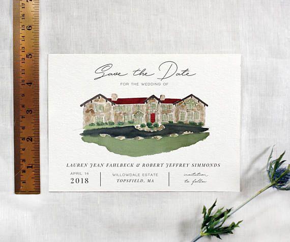 Custom Illustrated Save The Date Custom Illustrated Wedding