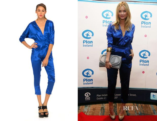 #LauraWhitmore wearing a #Motel Monarch v neck jumpsuit £49 GBP