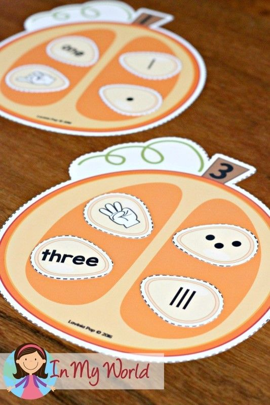 FREE Autumn / Fall Prechool Centers pumpkin seed number sorting activity