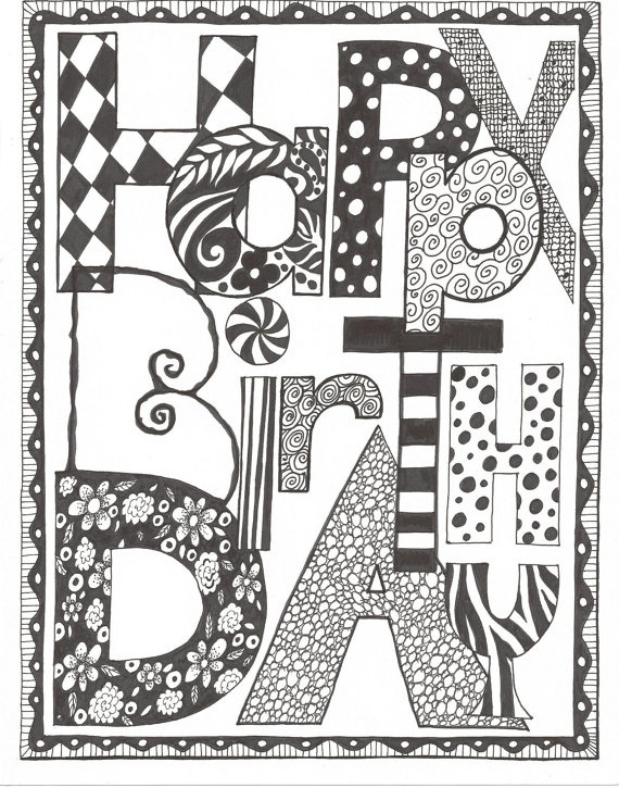 Cool Doodles DoodlesHappy Birthday PrintableZentangle