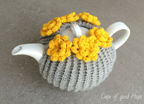Tea Pot Cosy chrochet doily coaster Teapot cosy crochet in grey thick yarn with yellow flowers rug cozy (TO ORDER)