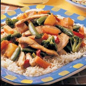 Pineapple Chicken Stir-Fry - really good! The sauce is great and easy. I used what fresh vegetables I had - red and green bell peppers and onion.