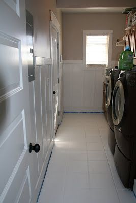 how to paint tile floors - Gripper Primer $23, 2 gallons of Behr brand epoxy paint @ $30 each, 2 roles of painters tape @ $7 each}