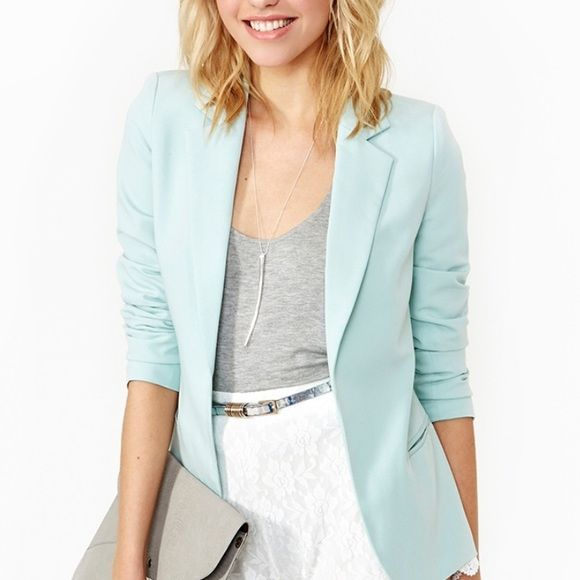 Nasty Gal Mint Blazer NWT Nasty Gal blazer. Fantastic to pair with jeans and heels for a night out or wear to work with a pencil skirt and blouse. Great for any occasion. Color is closer to first image. Size medium, just a bit tight in upper arm for me. Make an offer! Moving so everything must go! Nasty Gal Jackets & Coats Blazers
