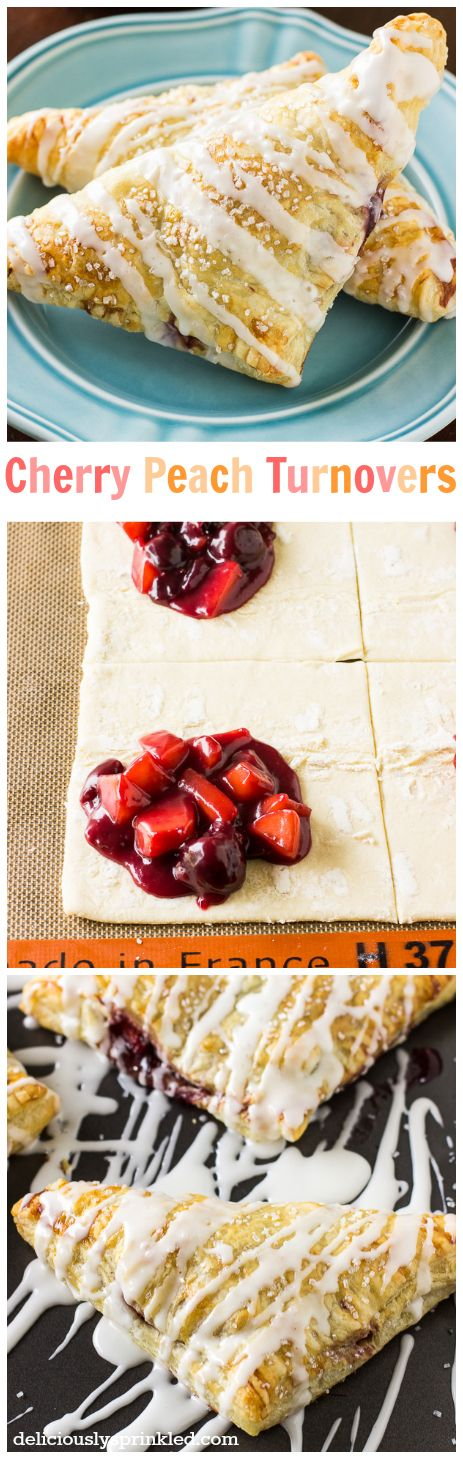 Cherry Peach Turnovers, these are SO easy to make and are always a favorite in our house for breakfast or dessert!