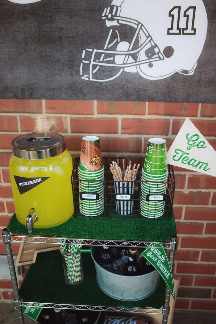 Drink Station From Tailgate Football Birthday Party At Karas Ideas See More Karaspartyideas