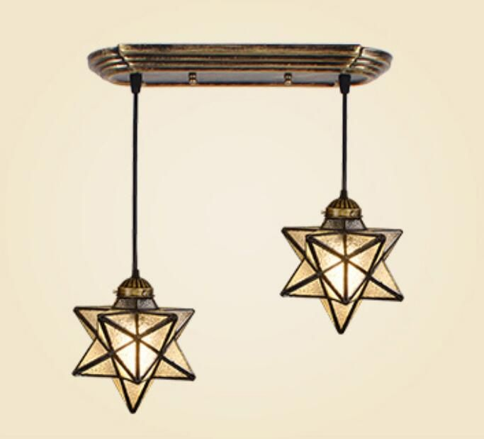 Mediterranean industrial wind creative dining room pendant light simple living room dining room aisle Bar Glass Star #Affiliate