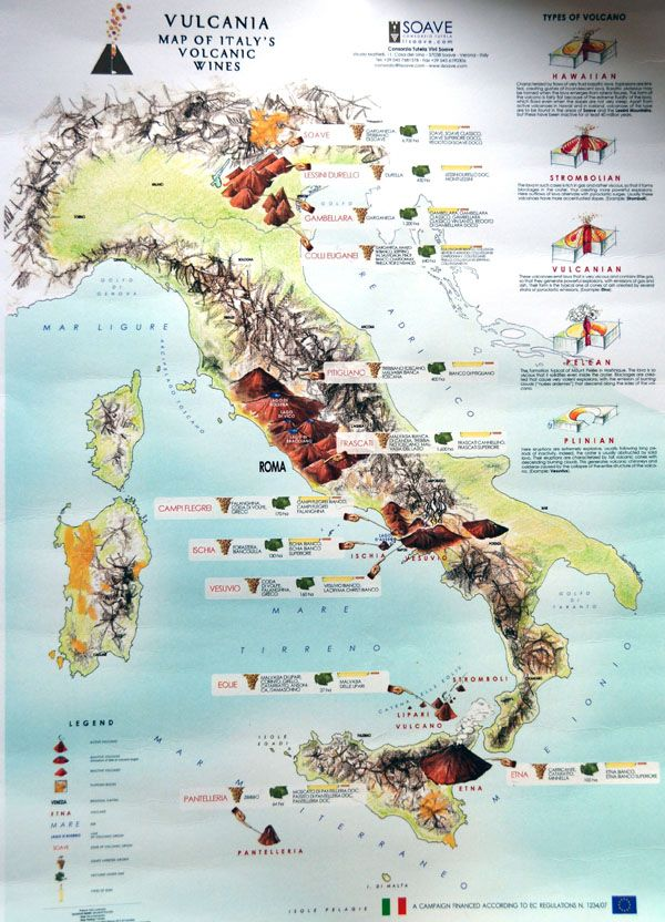 maps of italian wine regions | Large detailed map of Italy volcanic wines.