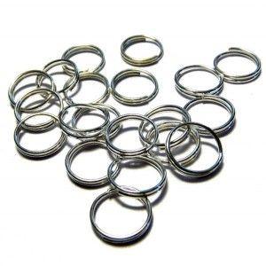 Anneau double 10 mm argenté x 10 anneaux