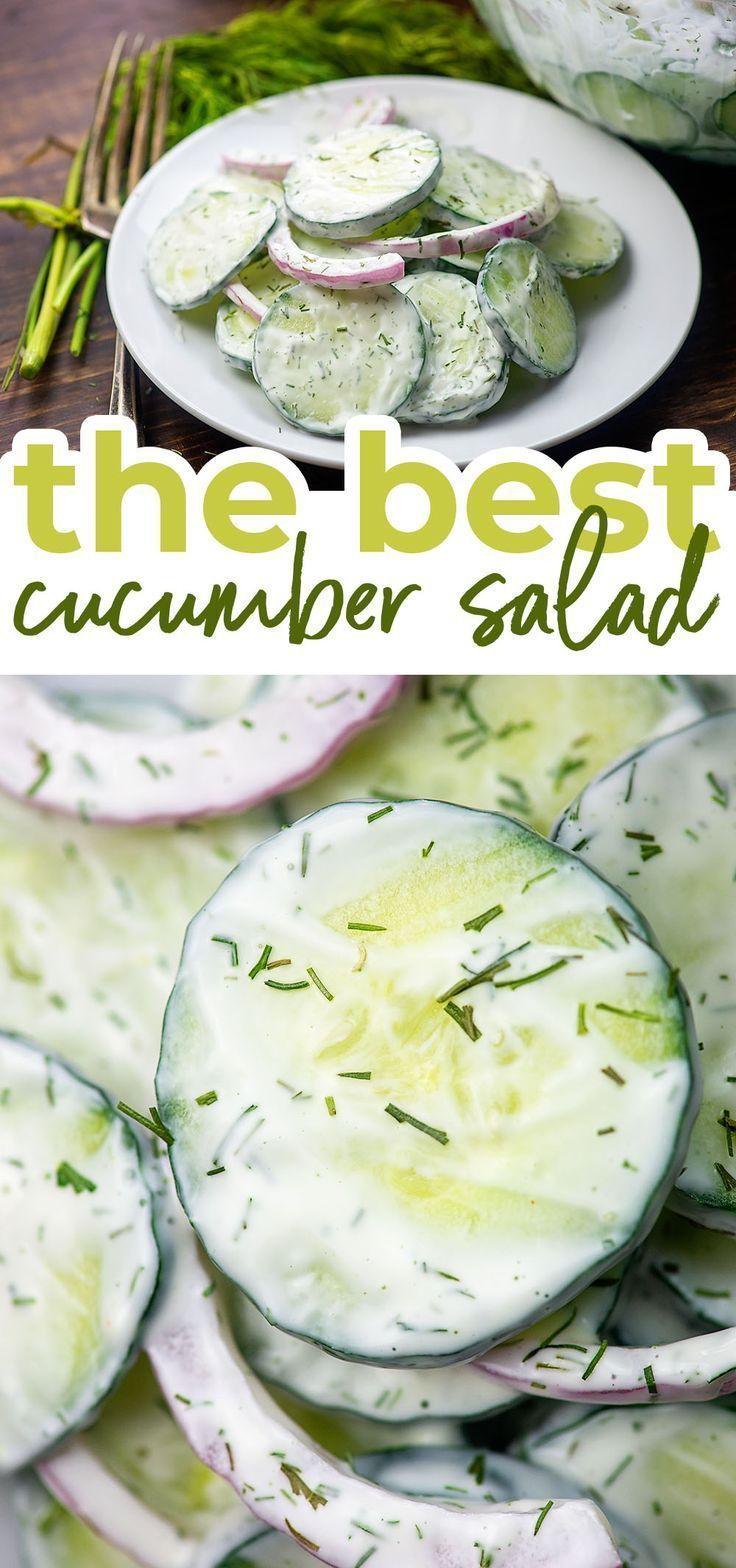 Just A Handful Of Ingredients In This Easy Cucumber Salad Plus It S Low Carb And It S A Great S Creamy Cucumber Salad Cucumber Recipes Salad Cucumber Recipes