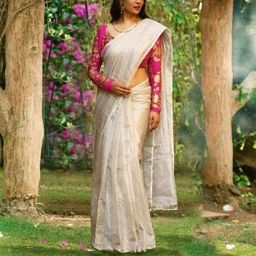 Rs.1111, Buy Online Rajeshwer Fashion Chanderi Silk Cream Plain Saree - Z1004 - Rajeshwer Fashion - Reviews - Indiarush