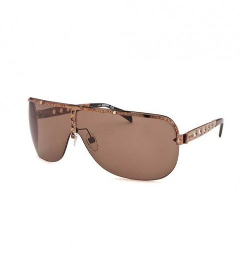 Embrace Over sized glamour with these #Diesel brown semi rimless #sunglasses crafted in plastic, featuring golden arm color, grey lens color, shield shape and brown streak pattern in arms & semi-frame.