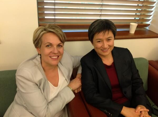Tanya Plibersek deputy leader of the Australian Labor Party and Penny Wong leader of the Senate. Two amazing women.