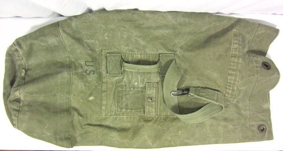 Vintage Military US Army Green Duffle Duffel Bag Surplus Thick Cotton Pack