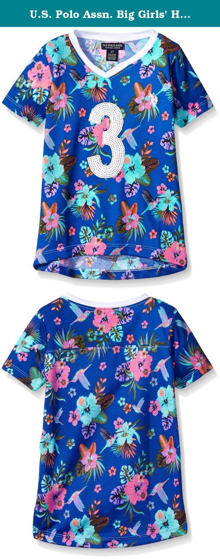 U.S. Polo Assn. Big Girls' Hummingbird and Floral Print Mini Mesh Football Shirt, Vintage Blue, 7/8. Mini mesh sequined trimmed v-neck football styled t-shirt.