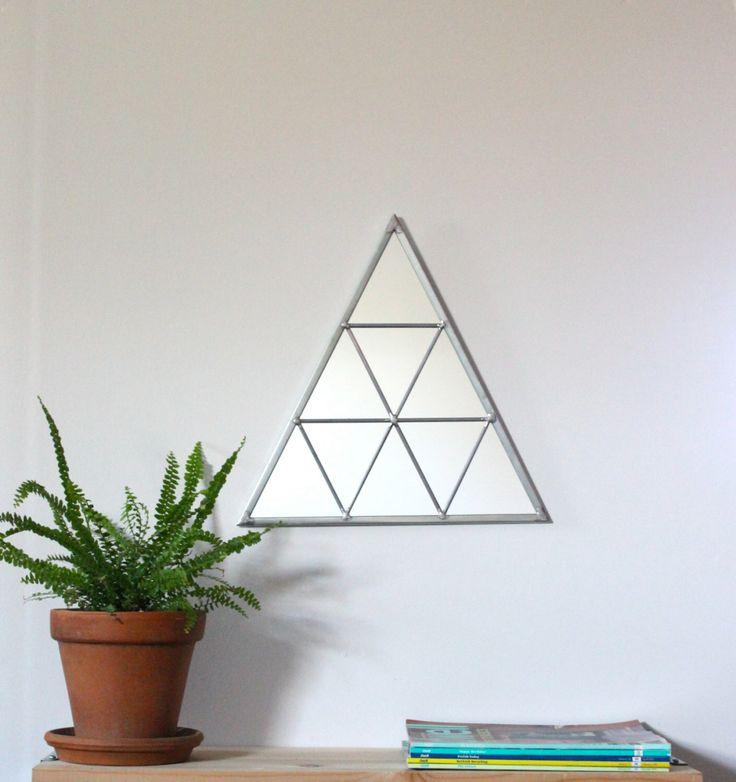 Triangle Wall Mirror Geometric / Handmade Wall Mirror Triangle Shaped Mirror Traingles Miroir Drejeck by fluxglass on Etsy https://www.etsy.com/listing/212307995/triangle-wall-mirror-geometric-handmade