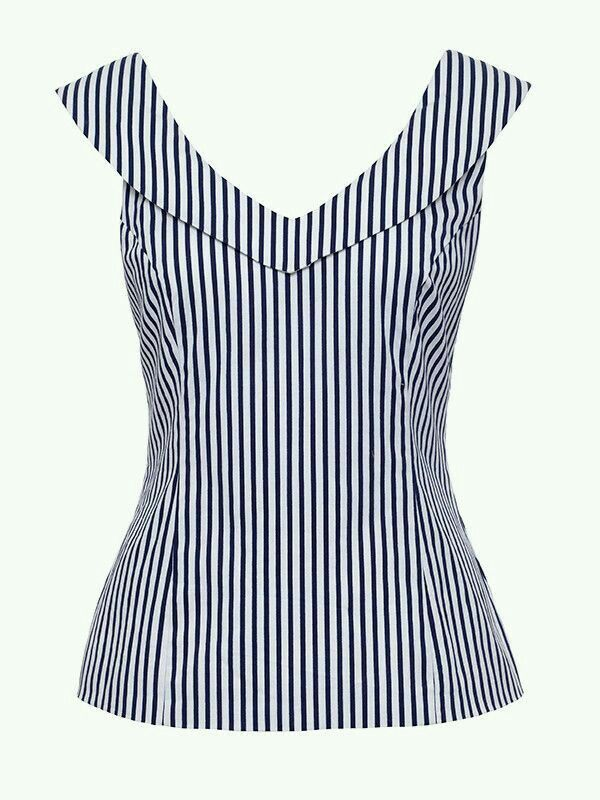 V-neck striped blouse
