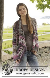 """Around the World - Crochet DROPS jacket with lace pattern in """"Big Delight"""". Size: S - XXXL - Free pattern by DROPS Design"""
