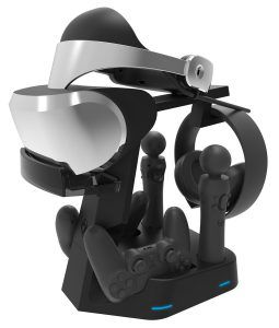 PS4 Collective Minds PSVR Stand. The best combo VR controller charger currently available. http://thumbandstick.siterubix.com/ps4-collective-minds-psvr-showcase-rapid-ac-vr-charge-display-stand