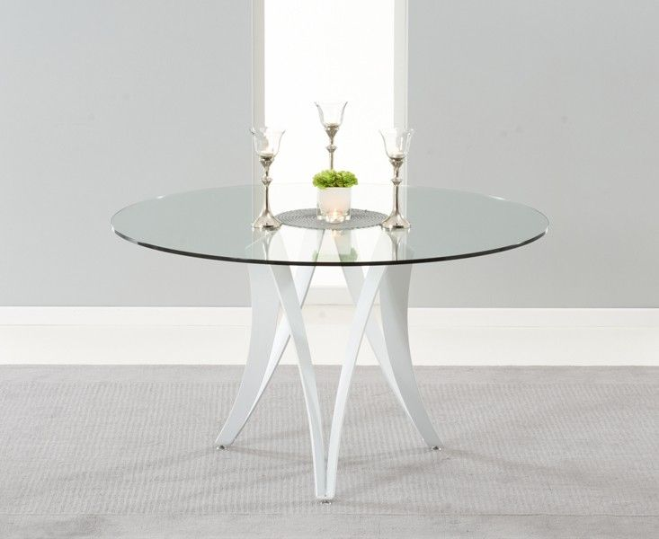 Marvelous Madison 90cm Clear Glass Dining Table With Cavello Ivory White