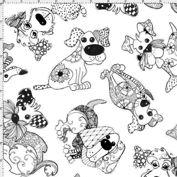 Doodle Dogs White Fabric Yard