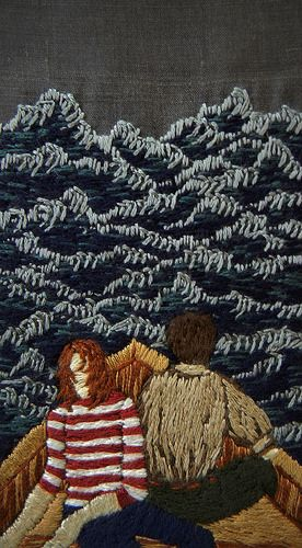 "They might land somewhere, and be free then - 4 x 3"" embroidery on silk, by Michele Kingdom"