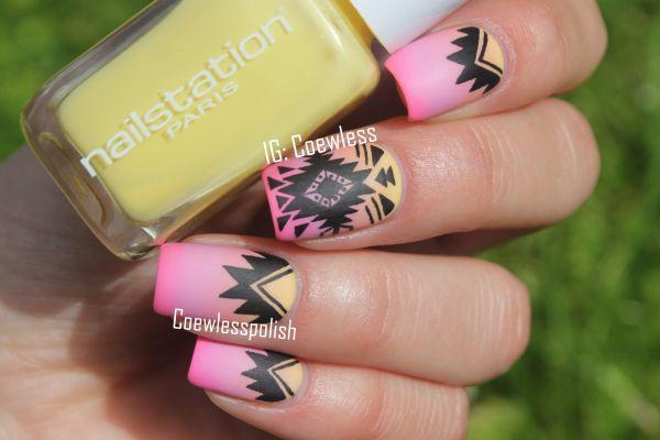 NOTD – Summer aztec nails + tutorial