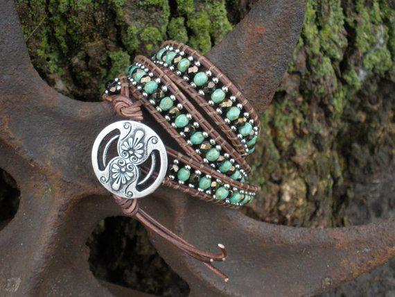 Leather Wrap Bracelet  Triple Wrap by OrnamentationbyMary on Etsy, $49.95