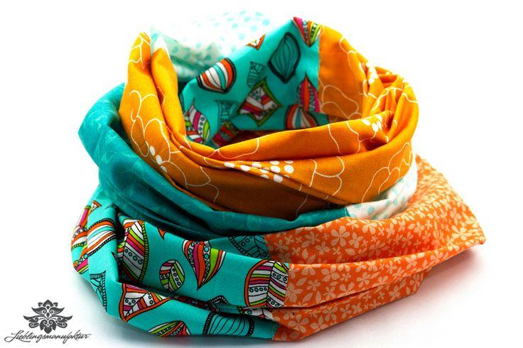 Bunte Schals und Tücher / Rundschals von #Lieblingsmanufaktur: hier was richtig Farbenfrohes und Leuchtendes in orange und türkis