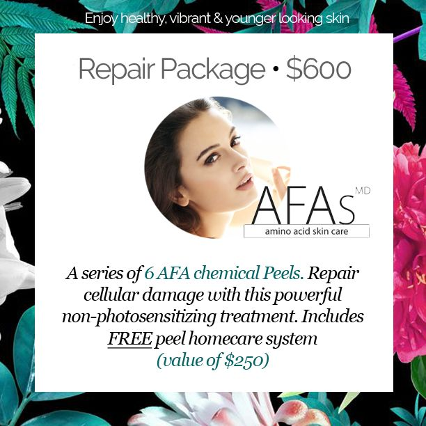AFAs: the first peel based on the natural moisture system of the skin! This peel produces results quickly without the harsh dryness & irritation. Book your free consultation today!