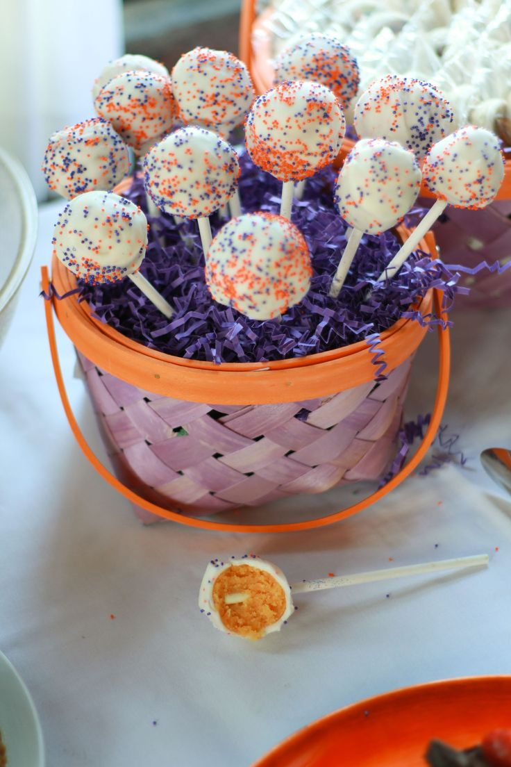 Orange and Purple Clemson Tailgate Cake Pops...will make these for @Anna Fowler of course!