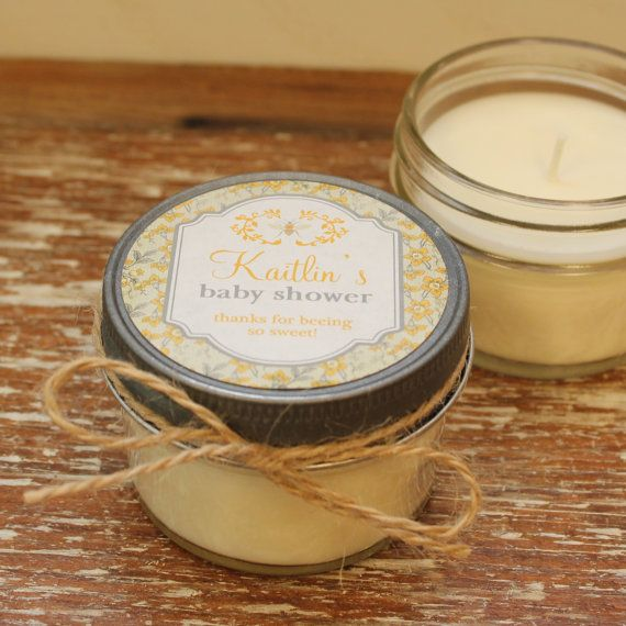 Set of 12 - 4 oz Baby Shower Favor Candles - Bee Baby Shower Favor // Girl Baby Shower Favor // Boy Baby Shower Favors // Soy Candle Favor