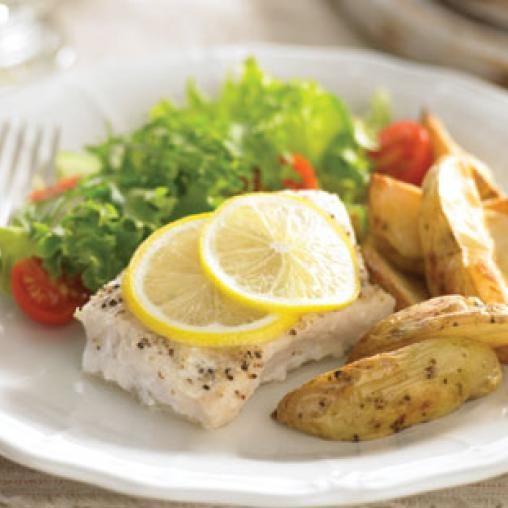 Roasted fish with thick crispy wedges