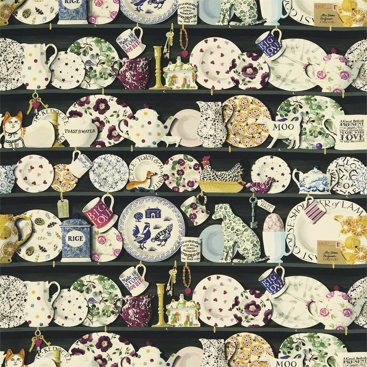 British  Wallpapers - Emma Bridgewater The Dresser Fabric Black/Multi DEMB223458, £50.00 (http://www.britishwallpapers.co.uk/emma-bridgewater-the-dresser-fabric-black-multi-demb223458/)
