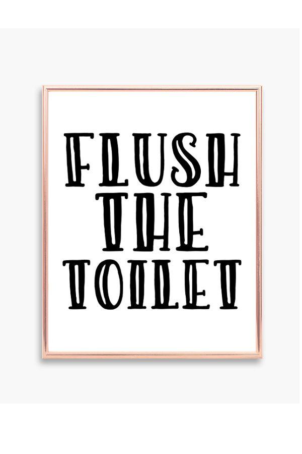 flush the toilet retro bathroom decor printable bathroom wall art rh pinterest com