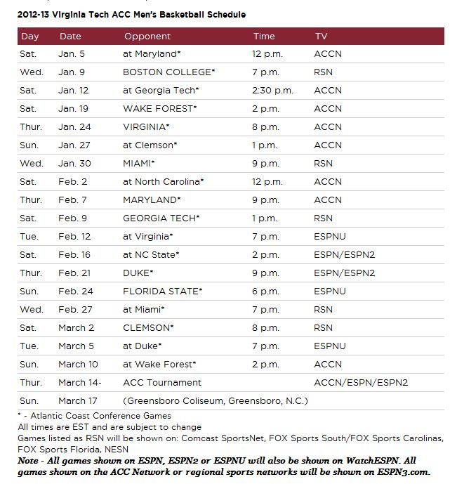 Virginia Tech Hokies Basketball Schedule Virginia Tech Hokies Basketball ACC Schedule 2013  http://www.hokienation.us/