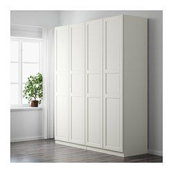 """IKEA - PAX, Wardrobe, standard hinges, 78 3/4x23 5/8x93 1/8 """", , 10-year Limited Warranty. Read about the terms in the Limited Warranty brochure.You can easily adapt this ready-made PAX/KOMPLEMENT combination to suit your needs and taste using the PAX planning tool.Hinges with integrated dampers catch the door and close it slowly, silently and softlyIf you want to organize inside you can complement with interior organizers from the KOMPLEMENT series.Adjustable feet make it possible to…"""