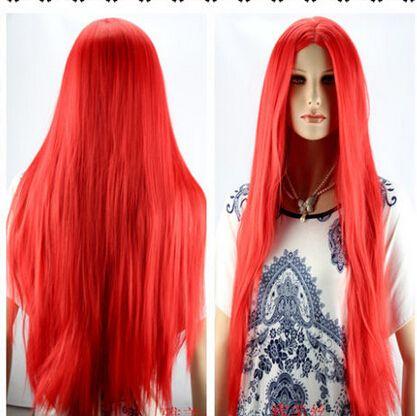 Кк 004014 Длинные Прямые Красные Парик Сократить Вдвое Новая Мода Женщины Полный Парики