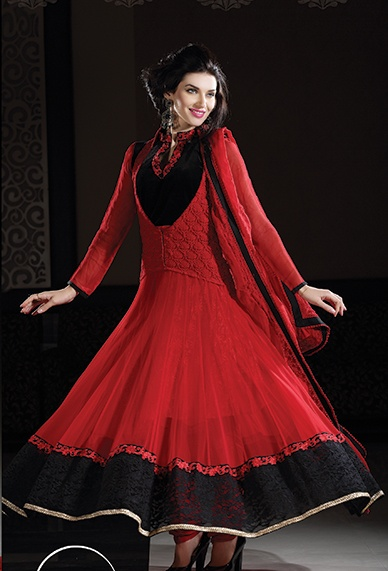 Red & Black Faux Georgette Anarkali Salwar Kameez It Has Been Beautifully Designed With Lace, Multi & Resham Work.Buy #Anarkali #Salwar #Kameez Get Free Shipping!