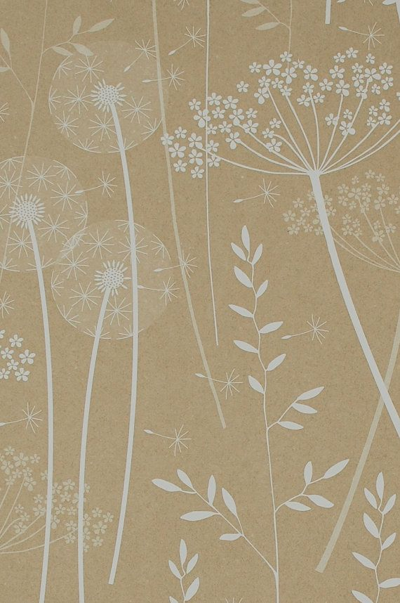 Paper Meadow Wallpaper  Kraft SAMPLE by Hannahnunn on Etsy, £1.00 - This will look amazing behind my new French bed, just on the one wall, gorgeous!