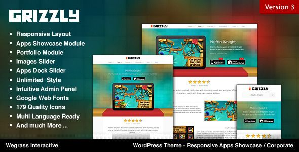 Grizzly - Responsive WordPress Theme for App Showcase and Slider